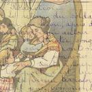 Illustration d'une famille enlacée avec en filigrane une rédaction sur les soldats