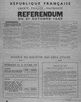 Affiche présentant le référendum du 21 octobre 1945