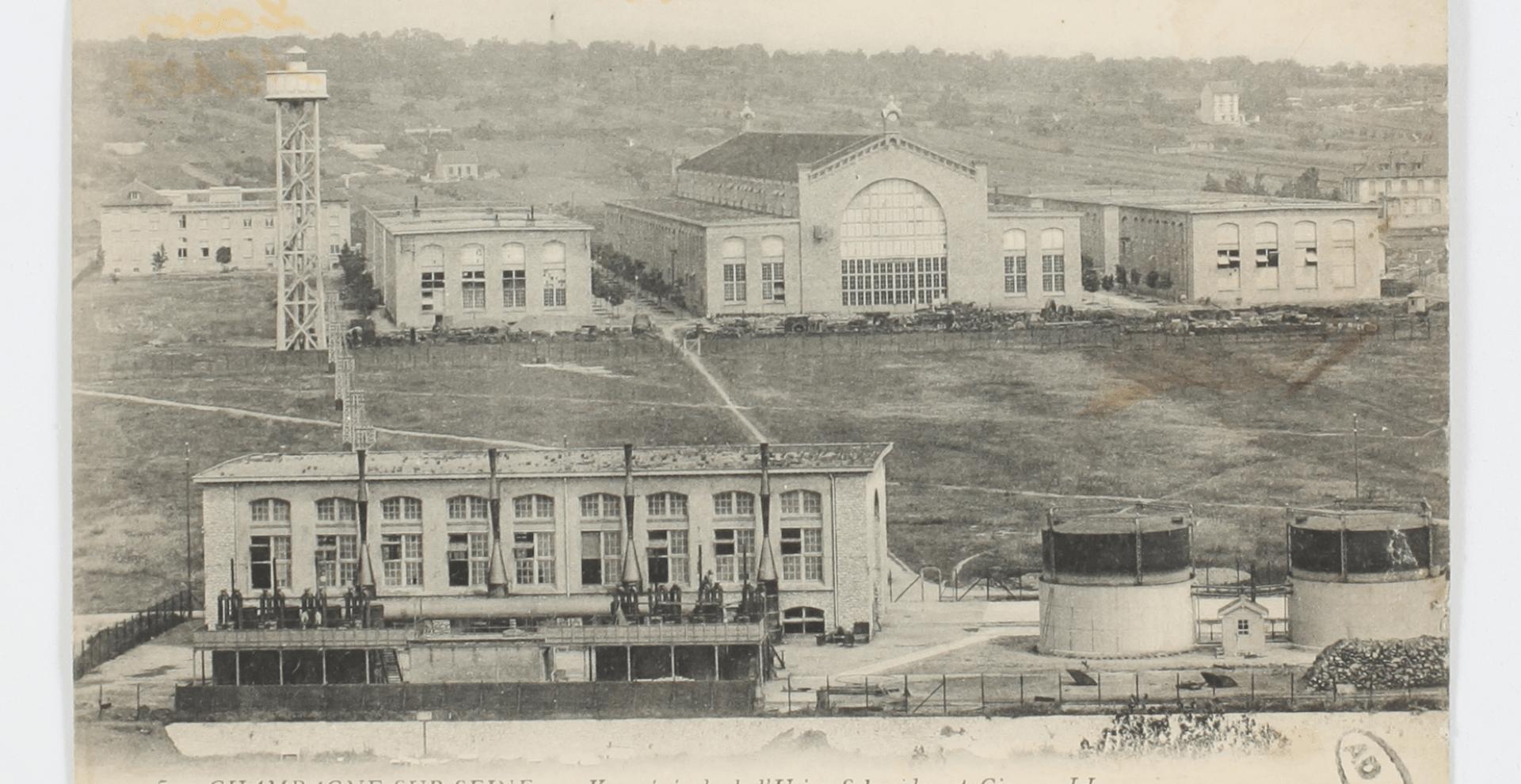 Vue des usines Schneider à Champagne-sur-Seine