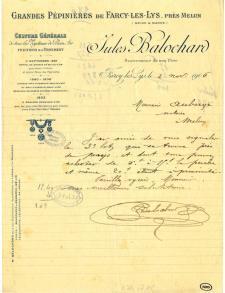 Lettre manuscrite de Jules Balochard.