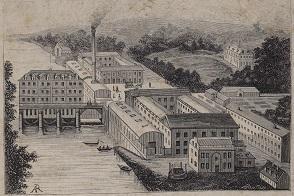 Gravure de l'usine Menier à Noisiel, 1875.