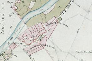Indication de la halle sur le plan d'intendance de Bray-sur-Seine, 1782.