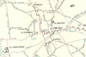 Plan de la commune de Chevru.