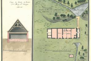Plan du moulin Russon, dessin aquarellé de l'architecte Antoine Vaudoyer, juillet 1806.