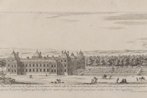 Vue du château et du parc des Capucins au temps de Catherine de Gonzague.