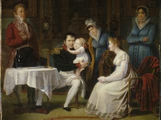 Menjaud Alexandre, Marie-Louise portant le roi de Rome à Napoléon Ier pendant le repas de l'Empereur, salon de 1812, huile sur toile, 149 x 226 cm