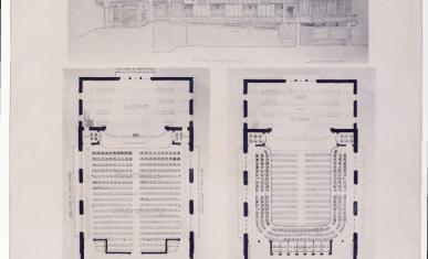 Estampe représentant la coupe et les plans du projet des architectes Duval et Robida lors du concours pour la construction du théâtre de Coulommiers.