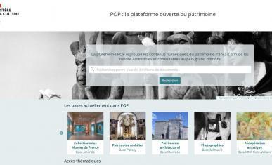 Vue de la page d'accueil de la plateforme Pop