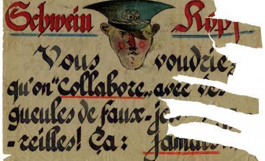 Placard intitulé « Schwein Kopf ».