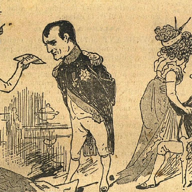 """Caricature de Napoléon et """"Madame Sans-Gêne"""""""