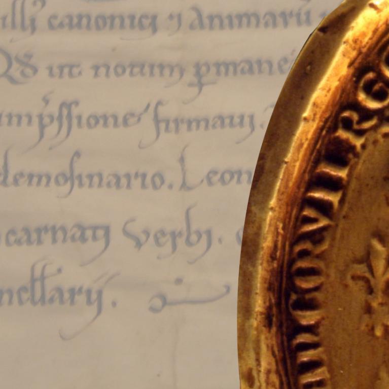 texte d'une charte médiévale et sceau de blanche de Castille