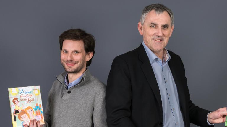 Photographie de Blaise Casevitz et Nicolas Quénu, co-fondateurs des Editions du Sabot Rouge