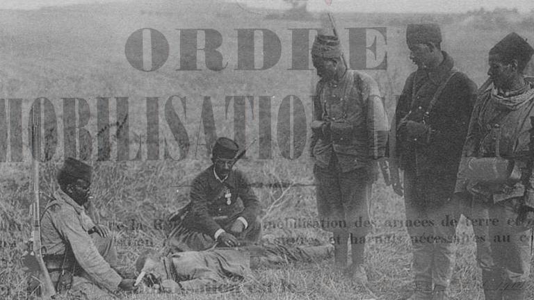 Soldats marocains durant la bataille de la Marne, filigrane de l'affiche de Mobilisation, 1914