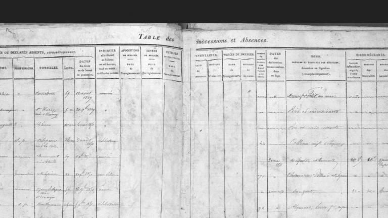 Vue d'une page d'une table de successions et d'absences