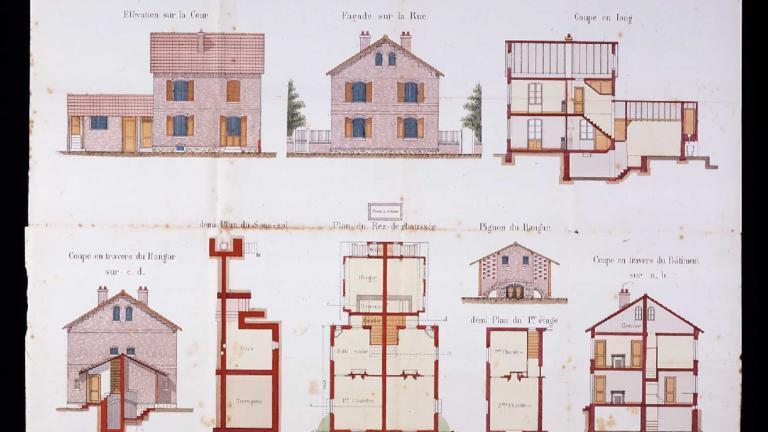Maison de la cité ouvrière de Noisiel à deux logements